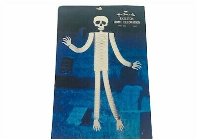 Halloween decoration vtg Hallmark Skeleton 6 feet 6ft RARE 6' ruffle bones skull