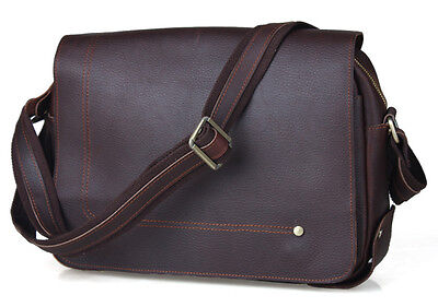 Men's Vintage Leather Briefcase Messenger Bag Satchel Casual School Bookbag