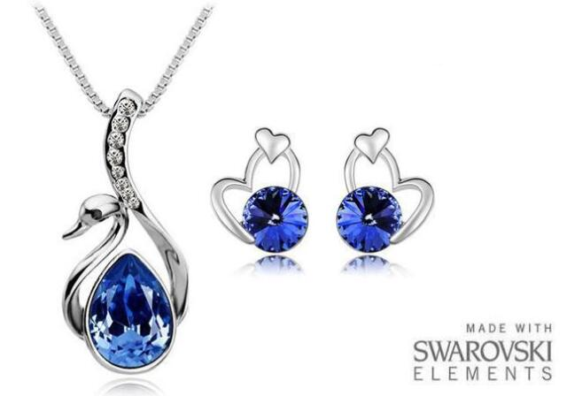 Made with Swarovski Elements Tanzanite Swan Necklace and Earrings Set - £40