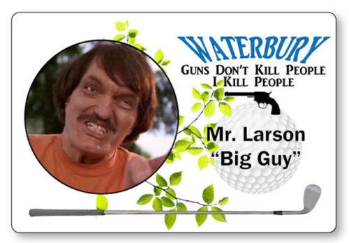 LARSON THE BIG GUY HAPPY GILMORE NAME BADGE PROP HALLOWEEN COSPLAY MAGNET BACK