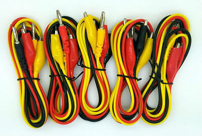 Lot Of 5 Electrical Test Leads 1 Meter 39 With 4mm Banana Plug And Alligator