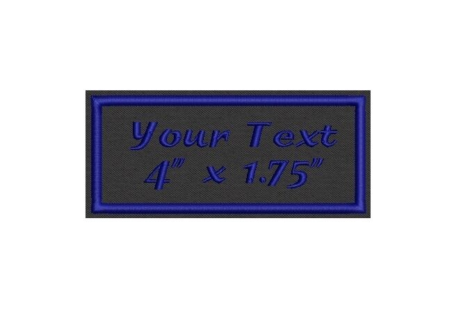 """6 Rectangular Custom Embroidered Name Tag,  Iron on  or Sew on Patch 4"""" x 1.75"""""""