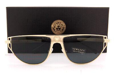 Brand New VERSACE Sunglasses VE 2213 100287 Gold/Gray For (Branded Shades For Men)