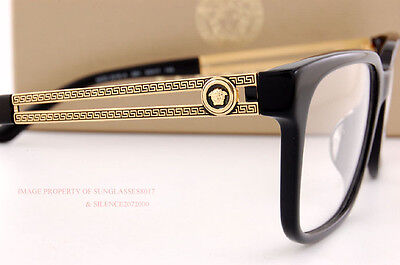 Brand New VERSACE Eyeglass Frames 3218 GB1 BLACK Women Men 100% Authentic SZ 53