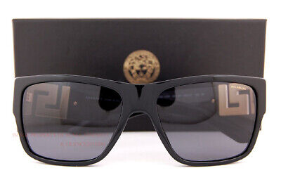 Brand New VERSACE Sunglasses VE 4296 GB1/81 Black/Polarized Gray For Men