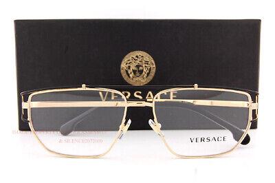 Brand New VERSACE Eyeglass Frames VE 1257 1436 Gold For Men Size (Gold Versace Frames For Men)