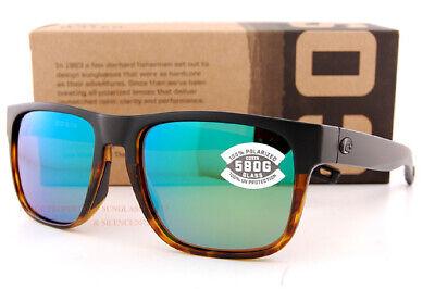 Neu Costa Del Mar Sonnenbrille Spearo Schwarz / Glänzend Tort Grün Spiegel 580G