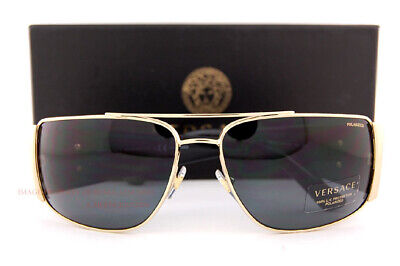 Brand New VERSACE Sunglasses VE 2163 100281 Gold/Black Frame/Gray Lenses Men