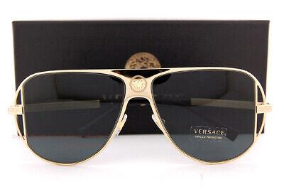 Brand New VERSACE Sunglasses VE 2212 100287 Gold/Gray For (Branded Shades For Men)