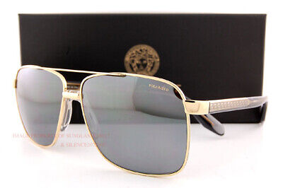 New VERSACE Sunglasses VE 2174 1002/Z3 Polarized Gold/Grey Silver Mirror for Men