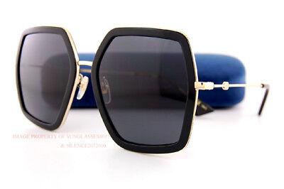 ea7f449d36 Brand New GUCCI Sunglasses GG 0106 S 001 Black Gold Grey For Women