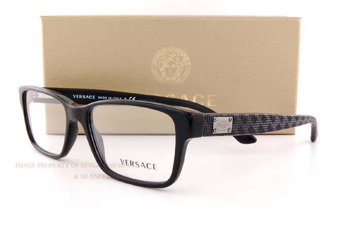 84694eac10e0 Brand New VERSACE Eyeglass Frames 3198 GB1 for Men BLACK 100% Authentic SZ  55