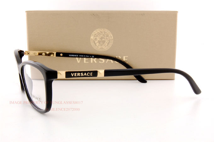b9ab4daa3c07 ... Brand New VERSACE Eyeglass Frames 3186 GB1 for Women BLACK 100%  Authentic SZ 54 ...