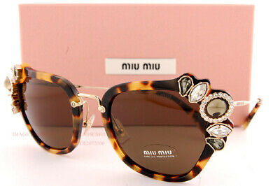 Brand New Miu Miu Sunglasses MU 03SS 7S0 8C1 Light Havana/Brown For Women