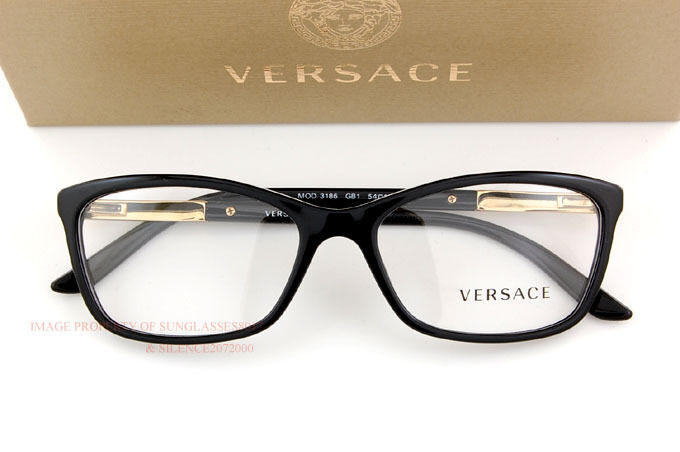 038a6a79c24e Brand New VERSACE Eyeglass Frames 3186 GB1 for Women BLACK 100% Authentic  SZ 54