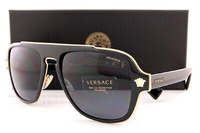 Brand New VERSACE Sunglasses Polarized VE 2199 1002/81 Black/Gold For Men (Branded Shades For Men)