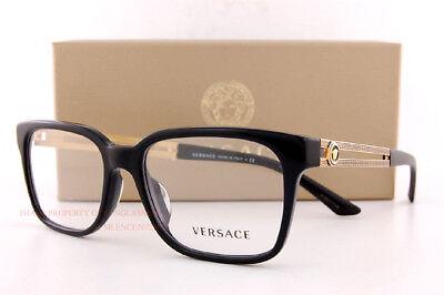 Brand New VERSACE Eyeglass Frames 3218 GB1 Black Gold For Men  55 sz