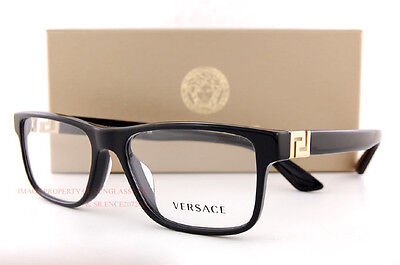 8ea0cf1444f Brand New VERSACE Eyeglasses Frames 3211 GB1 BLACK for Men 100% Authentic  SZ 55
