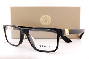f41e70795c1 Brand New VERSACE Eyeglasses Frames 3211 GB1 BLACK for Men 100% Authentic  SZ 55