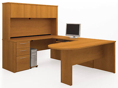 Bestar Embassy Cappuccino Cherry Executive U Shaped Office Desk W Hutch
