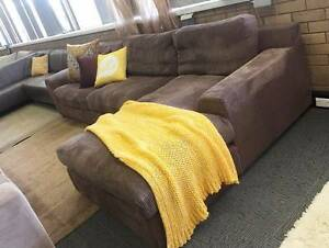 SUPERB! CHOC JUMBO CORD FEATHER FILLED L SHAPE SOFA CHAISE LOUNGE Sydney Region Preview