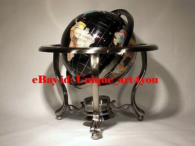 "14"" Black ocean Silver 3- leg table stand Gem MOP Gemstone World MAP globe"