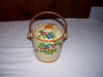 Vintage Biscuit Jar and Top…Hand Painted with Wicker Handle….Made in Japan