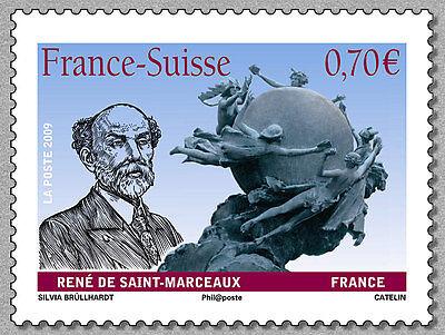 france ca 2009 suisse joint issue René Saint Marceaux statue fondation UPU 1v (Ca Return Status)