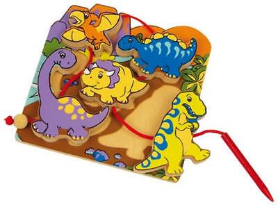 Fädelspiel Fädelpuzzle Dinosaurier Dino Holz mit 5 Figuren  neu