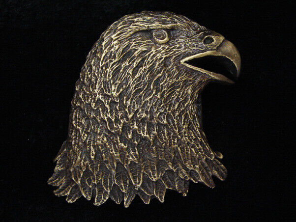 RA05168 VINTAGE 1979 CUT-OUT *AMERICAN BALD EAGLE* SOLID BRASS BELT BUCKLE