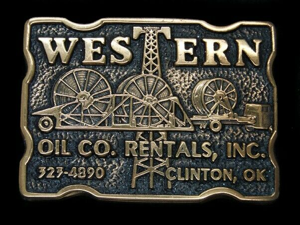 SK07122 *NOS* VINTAGE 1970s *WESTERN OIL CO RENTALS* OILFIELD SOLID BRASS BUCKLE