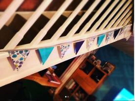 Turquoise, navy and floral handmade bunting -2.6m