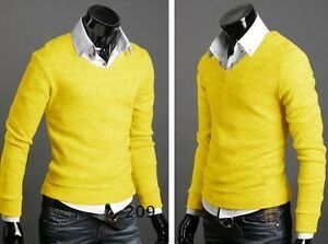 Fashion Men Slim V-neck Pullover Casual Sweater Bottoming Jumper Cardigans Shirt