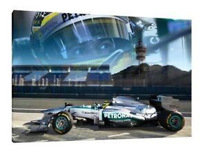 Lewis Hamilton LARGE 30x20 Inch Mercedes Framed Picture F1 Canvas Formula One