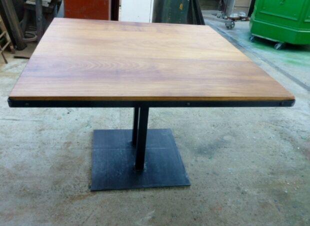 table meuble industriel pied central bois m tal loft sur mesure eur 450 00 picclick fr. Black Bedroom Furniture Sets. Home Design Ideas