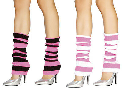 Knit Striped Leg Warmers Costume Retro 80s Dance Hot Pink Black White - White Leg Warmers