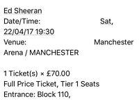 Ed Sheeran Ticket x 1 Manchester