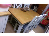 Designer Mark Webster Padstow Solid Oak and Off white Extending Dining Table And Four Padstow Chairs