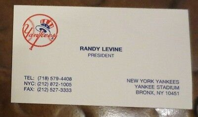 Randy Levine NY Yankees President signed autographed business card
