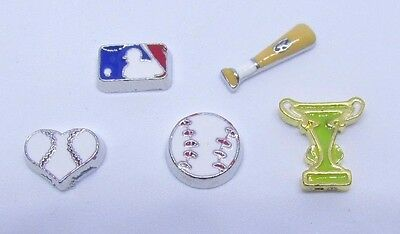 Baseball heart bat major league trophy sports Floating charms for living locket](Floating Charms For Lockets)
