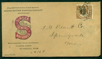 SINGER SEWING MACHINES ADVERTISING COVER W/1  TIED HAVERHILL, MASS.