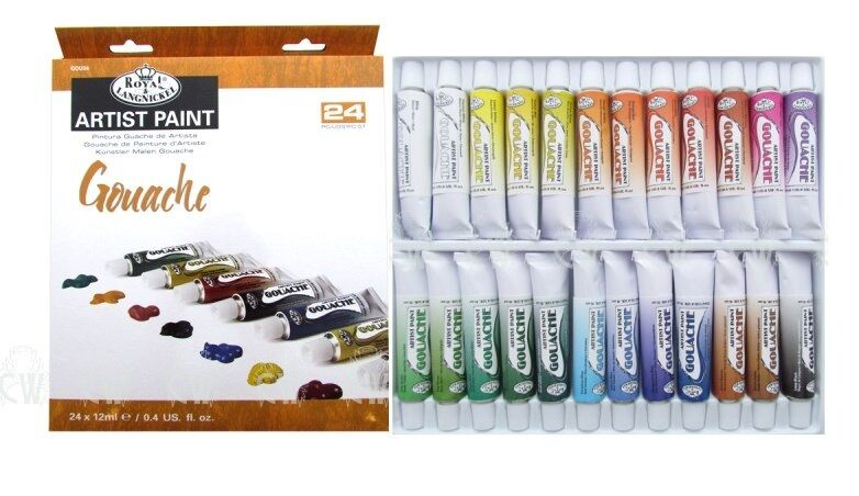 Royal & Langnickel Gouache Color Artist Tube Paint, 12ml, 24