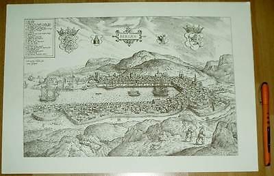 Bergen alte Ansicht Merian Druck Stich 1650 (schw)