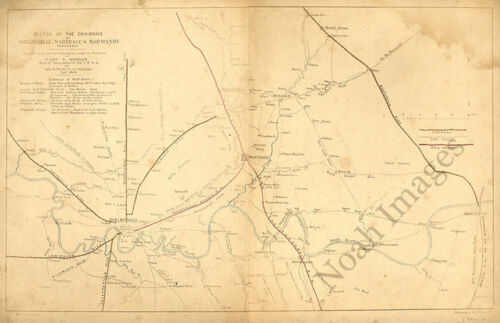 Sketch of the environs of Shelbyville - Wartrace & Normandy TN c1863 repro 18x12