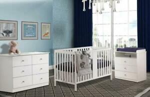 Quattro#1 William: Lit de bébé convertible 4 en 1 + Table à langer Nova + Bureau Double Nova+  Matelas Peaceful Night (B