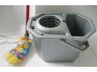 Mop (new), mop-bucket & flip-top bin, silver plastic, all unused