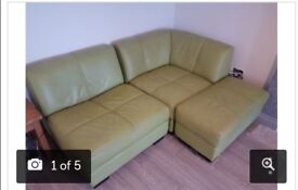 Green leather corner sofa (Modular- can be left or right hand facing)