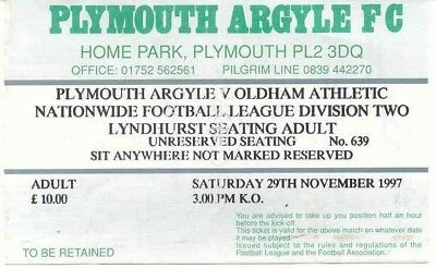 Ticket - Plymouth Argyle v Oldham Athletic 29.11.97