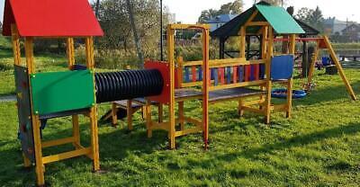 Área de Juegos Tobogán Torre Escalada Casa Parque Infantil Exterior Madera Nuevo
