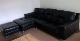 DFS black learner corner sofa